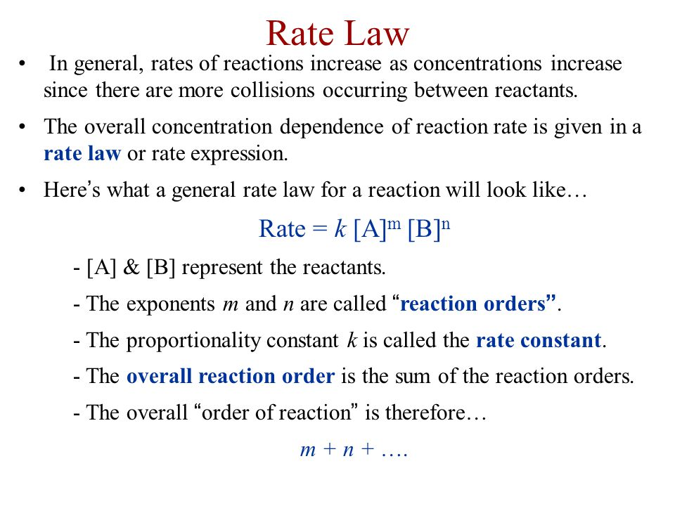 Rate Law Rate = k [A]m [B]n